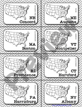 Northeast United States Flashcards, States, Capitals, Abbreviations {Option 2}