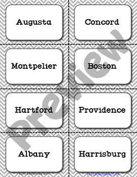 Northeast United States Flashcards, States, Capitals, Abbreviations {Option 4}