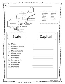 Northeast States and Capitals Activities, Games, and Differentiated Quizzes
