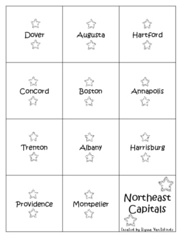 Northeast States and Capitals Memory Game