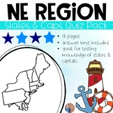 Northeast States and Capitals Quiz Pack