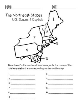Critical image regarding northeast states and capitals quiz printable
