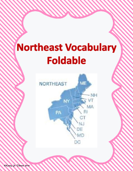 Northeast Vocabulary Foldable