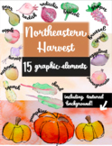 Northeastern Fall Harvest In-Season Watercolor Fruits and Veggies