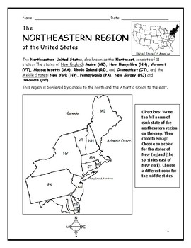 Northeastern Region of the United States - Printable handout