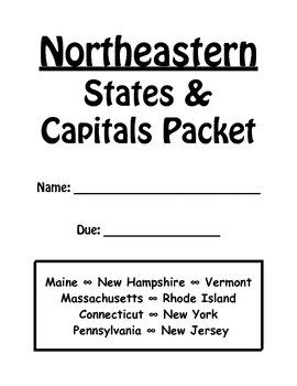 image regarding Northeast States and Capitals Quiz Printable titled Northeastern Claims and Capitals Study Packet