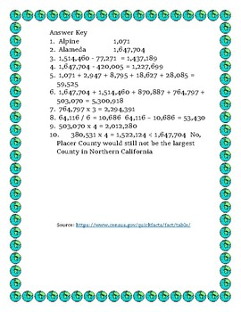 Data Analysis and Math Word Problems on Pop. of Northern California