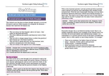 'Northern Lights' Philip Pullman Homework Tasks