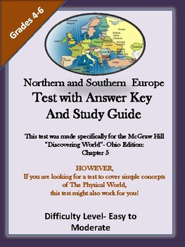 Northern and Southern Europe Test and Answer Key