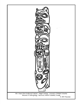 Northwest Coast Carving. Tlingit.  Coloring page and lesson plan ideas