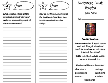Northwest Coast Peoples Trifold - ReadyGen 2016 4th Grade Unit 2 Module B