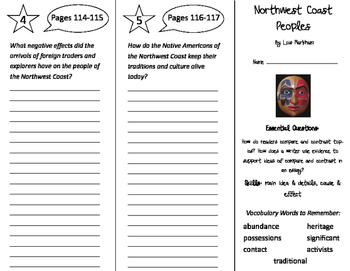 Northwest Coast Peoples Trifold - ReadyGen 4th Grade Unit 2 Module B
