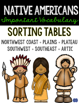 Native Americans of North America Interactive Notebook Sorting Tables
