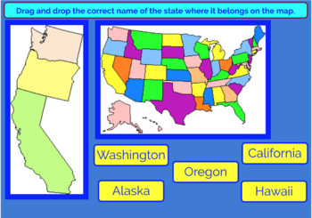 Northwest and West Regions U.S. States and Capitals Boom Cards, Geography, Maps