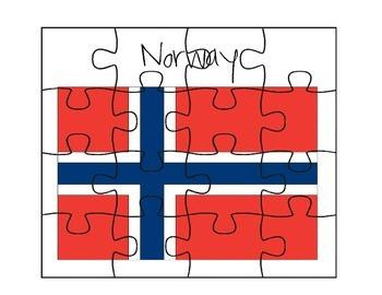 Norway Flag Puzzle Set