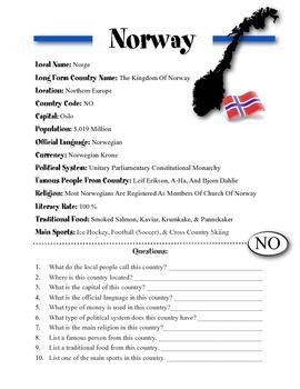 Norway Information & Worksheet
