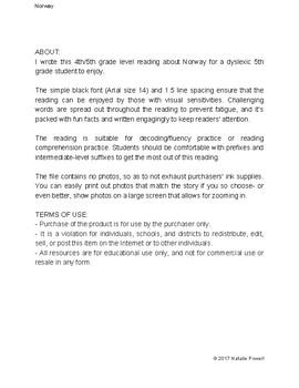 Norway Informational Text: Dyslexia-Friendly