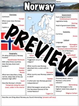 Norway Worksheet