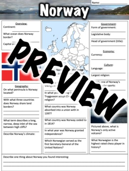 Norway Worksheet