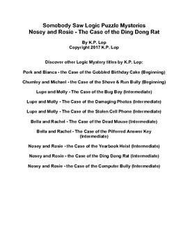 Somebody Saw Logic Puzzles, Nosey & Rosie - The Case of the Ding Dong Rat