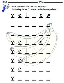 Not Jello, Yellow! Spelling worksheet (with English and Spanish instructions)
