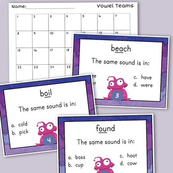 Vowel Teams Task Cards - Variant Vowels & Diphthongs