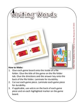Not So Wimpy File Folder Game: Writing Words (short vowel sounds)