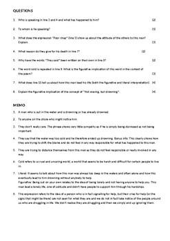 Not Waving, but Drowning Worksheet