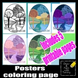 Not all who wander are lost inspiring poster and coloring page