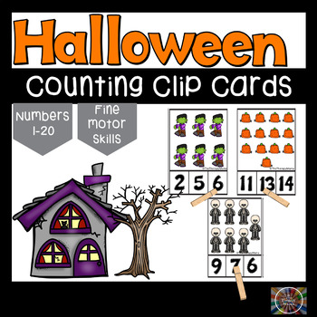 Not so scary Halloween Counting Clip Number Cards 1 - 20 M