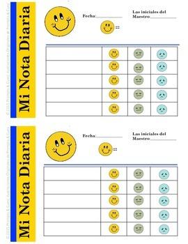 RTI-EDITABLE- Nota Diaria para el Comportamiento del Estudiante (En color y B/N)