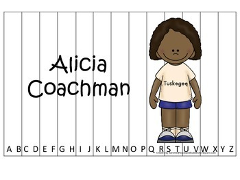 Notable African Americans Alicia Coachman themed Alphabet Sequence Puzzle game.