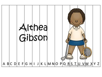 Notable African Americans Althea Gibson themed Alphabet Sequence Puzzle game.