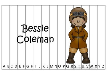 Notable African Americans Bessie Coleman themed Alphabet Sequence Puzzle game.
