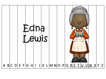 Notable African Americans Edna Lewis themed Alphabet Seque