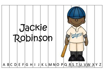 Notable African Americans Jackie Robinson themed Alphabet Sequence Puzzle game.