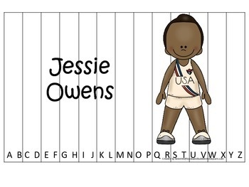 Notable African Americans Jessie Owens themed Alphabet Sequence Puzzle game.