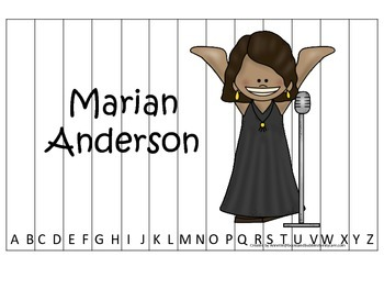 Notable African Americans Marian Anderson themed Alphabet Sequence Puzzle game.