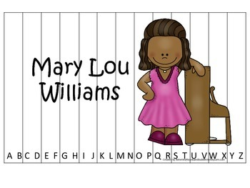 Notable African Americans Mary Lou Williams themed Alphabet Sequence Puzzle game