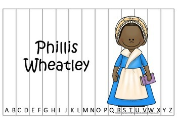 Notable African Americans Phillis Wheatley themed Alphabet Sequence Puzzle game.