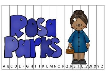 Notable African Americans Rosa Parks themed Alphabet Sequence Puzzle game.