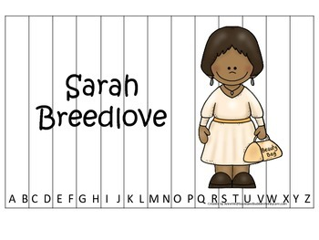 Notable African Americans Sarah Breedlove themed Alphabet Sequence Puzzle game.