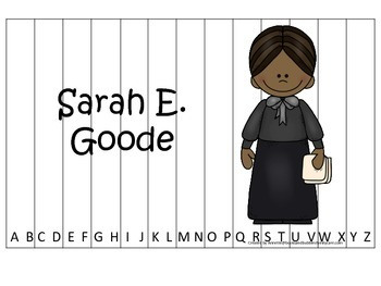 Notable African Americans Sarah E Goode  themed Alphabet Sequence Puzzle game.