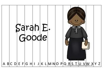 Notable African Americans Sarah E Goode  themed Alphabet S