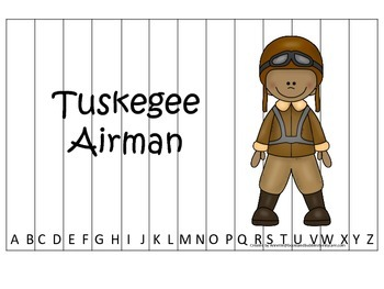 Notable African Americans Tuskegee Airman themed Alphabet Sequence Puzzle game.