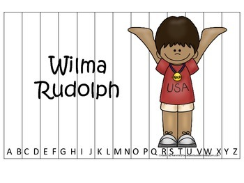 Notable African Americans Wilma Rudolph themed Alphabet Sequence Puzzle game.