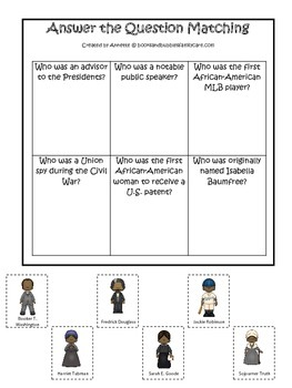 Notable African Americans themed Answer the Question printable game.