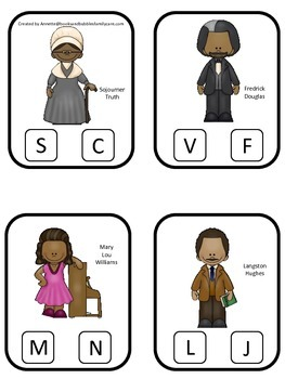 Notable African Americans themed Beginning Sounds preschool homeschool game.