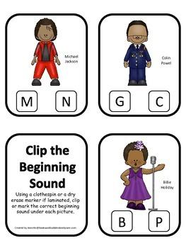 Notable African Americans themed Beginning Sounds preschoo