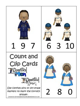 Notable African Americans themed Count and Clip Cards child math curriculum game